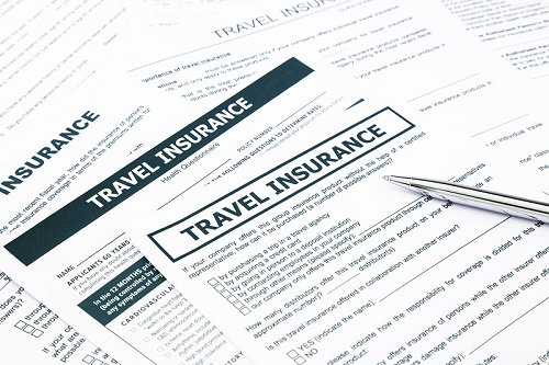 travel insurance form, paperwork and questionnaire for insurance concepts