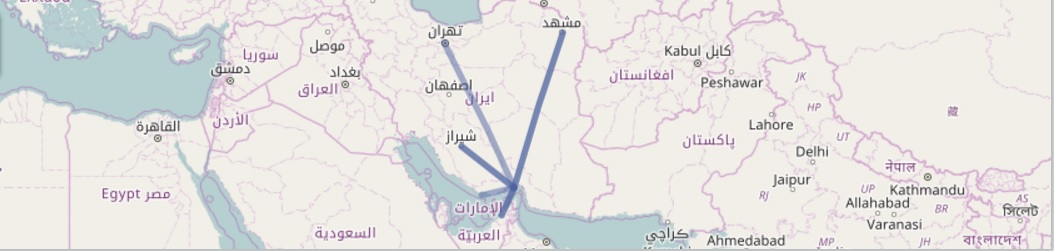 gheshm-airport-route-map