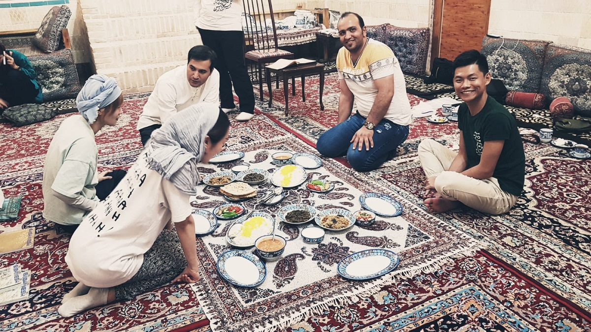 friendlyiran travelers at dinner time.
