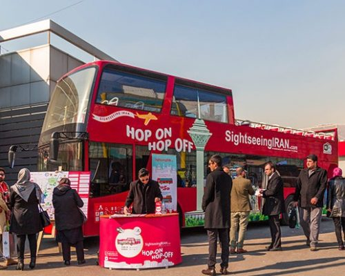 tehran tourism trade - iran fair-tehran exhibition - tourist bus in tehran
