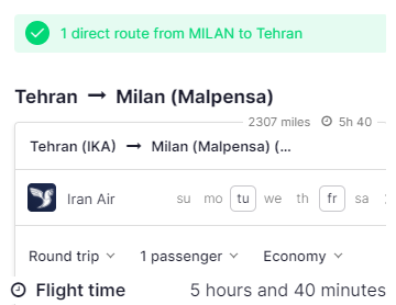 FLGIT ITALY TO IRAN